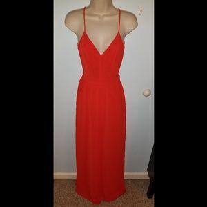 Lulu's Red Spaghetti Strap Backless Dress XS